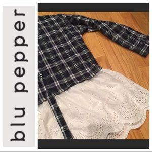 🍂 Oversized Plaid Shirt w/ Scalloped Eyelet 🍂